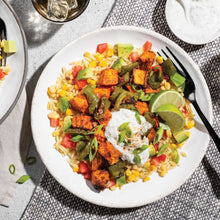 Family Ancho Sweet Potato Bowl with Avocado and Creamy Salsa Verde