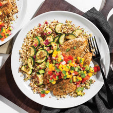 Family Caribbean-Style Tilapia with Mango-Cucumber Salsa and Zesty Quinoa