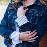 Denim & Mattress Ticking Stripe French Cuffs