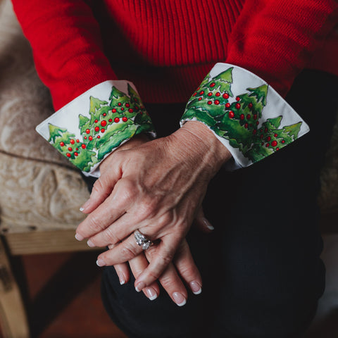 Trees & Holly Garland French Cuffs