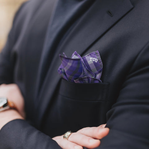 TCU Tartan Plaid Pocket Square