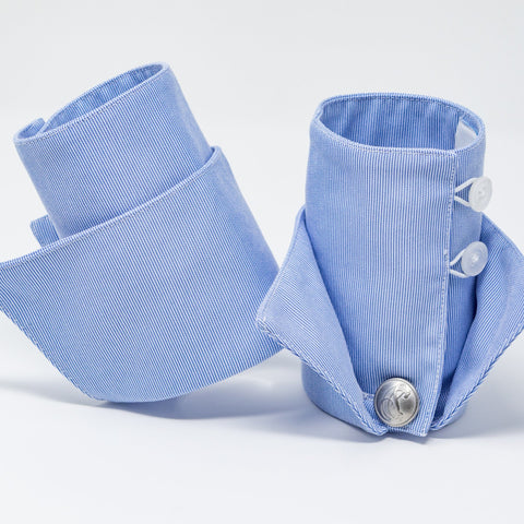 Blue Oxford Pincord French Cuffs