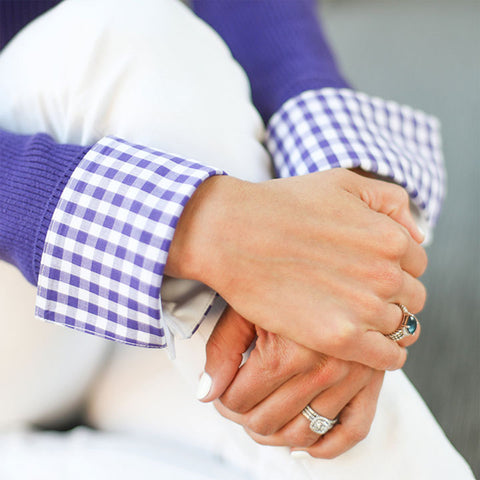 purple check french cuff close-up