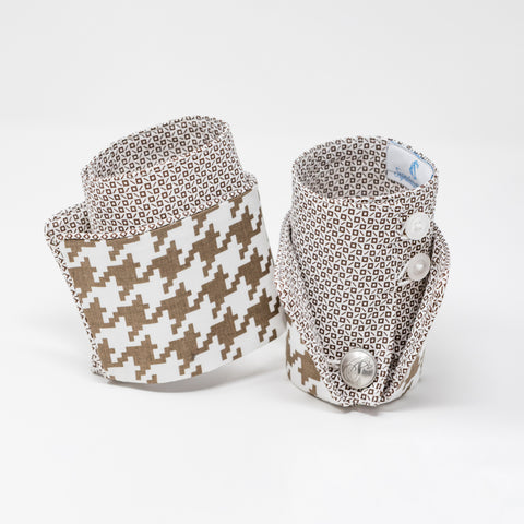 Saddle Tan Houndstooth French Cuffs