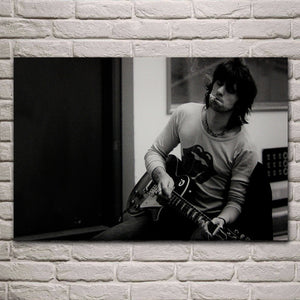 guitars keith richards musicians guitar lonely mood man KA517 living room home wall art decor wood frame fabric posters