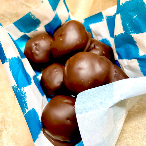 Chocolate coated peanut butter balls