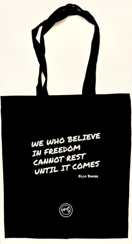 Refuge black freedom quote tote bag