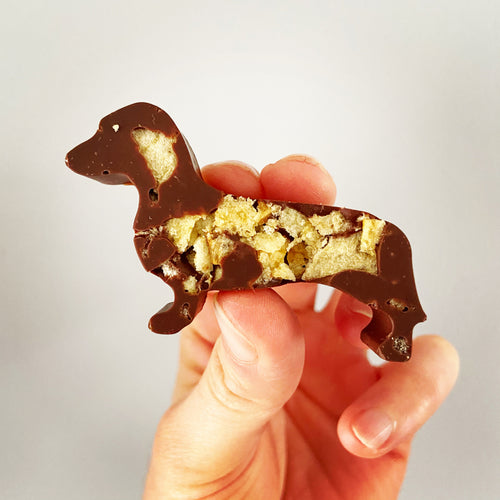Crispy sausage shaped dog chocolate