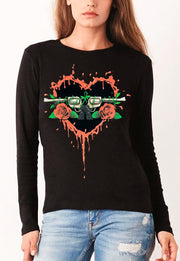 BLUSA MANGA LARGA  GUNS AND ROSES CORAZON