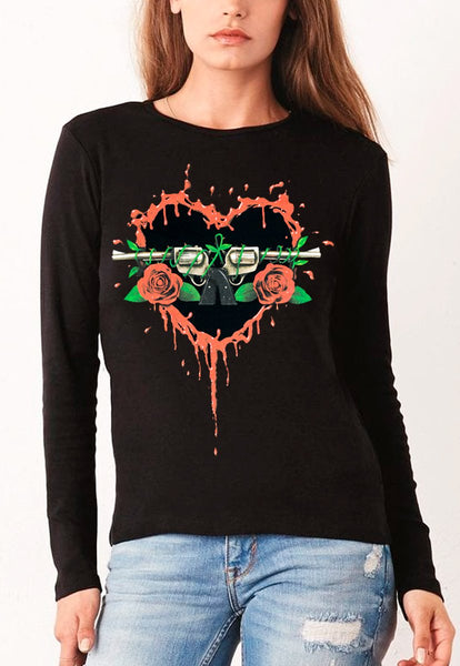 Blusa Guns 'N Roses Manga Larga Heart
