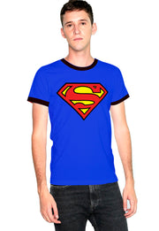 PLAYERA SUPERMAN RINGER LOGO CLÁSICO
