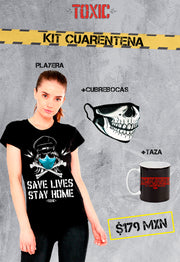 KIT BLUSA TOXIC STAY SAFE + TAZA TOXIC STAY HOME PLEASE