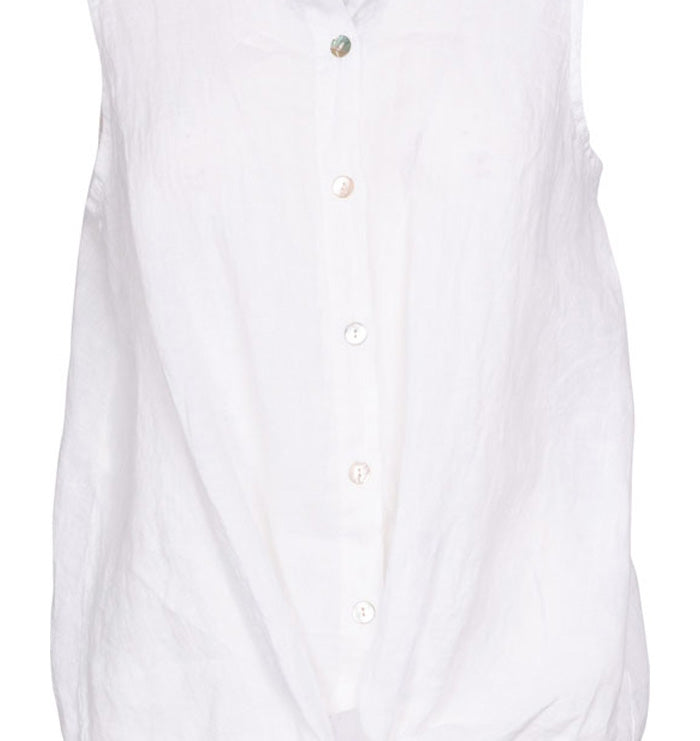 M Made in Italy White Sleeveless Button-up Top