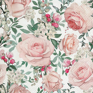 Luncheon Gorgeous Roses Napkins. 20 Pack