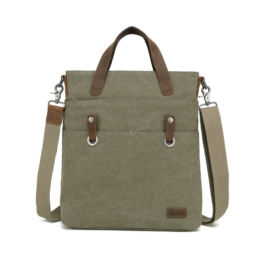 DaVan Canvas Tote with Leather Trim