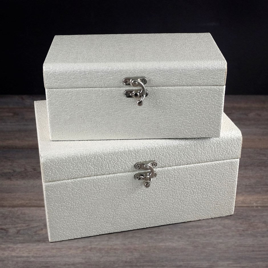 FAUX LEATHER WHITE BOX- ASST
