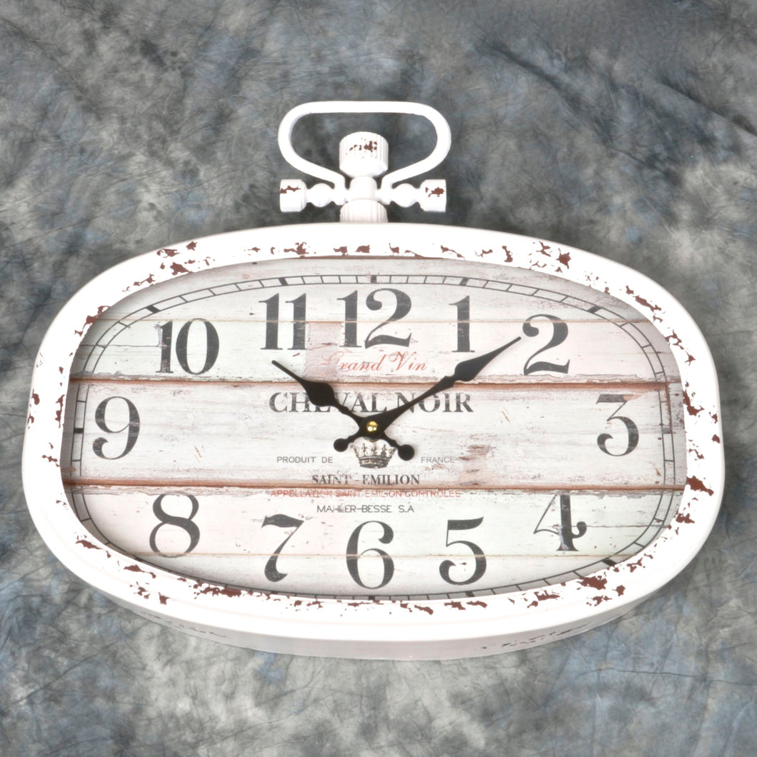 Oval Metal Wall Clock Cheval Noir