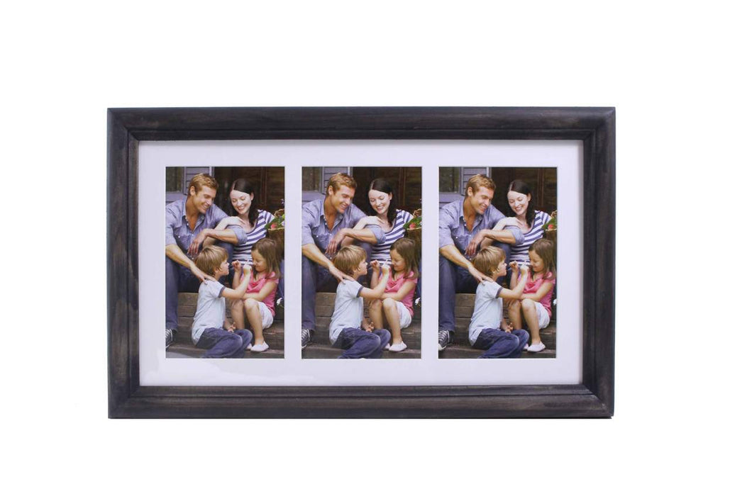 4x6 Black Wood 3 Picture Frame