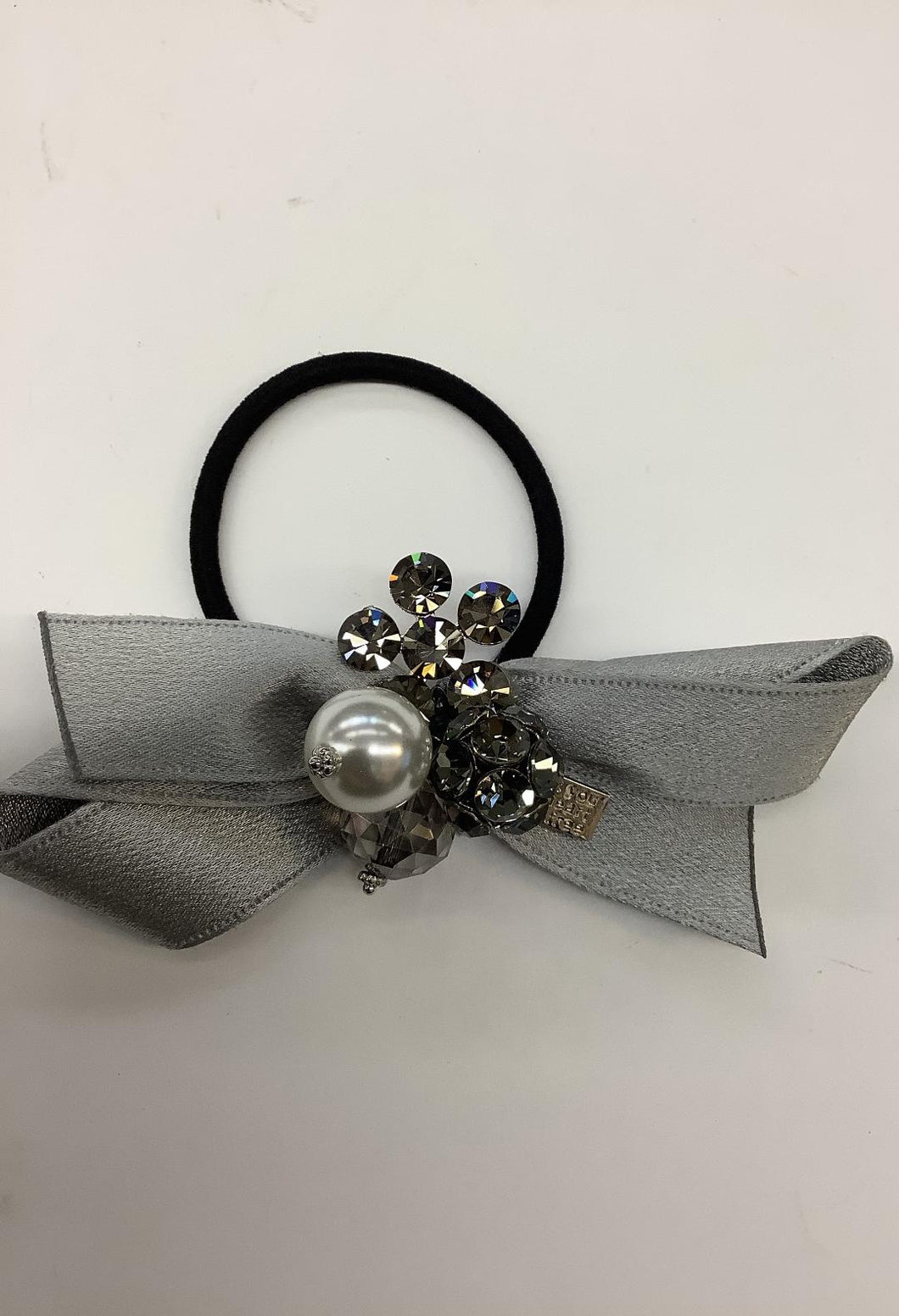 Hair Tie Silver Satin Bow
