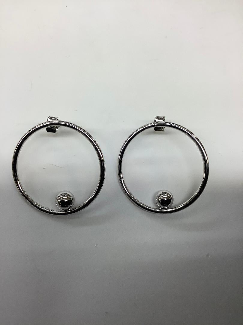 Shiny Silver Alloy Round Hoop with Ball Earrings