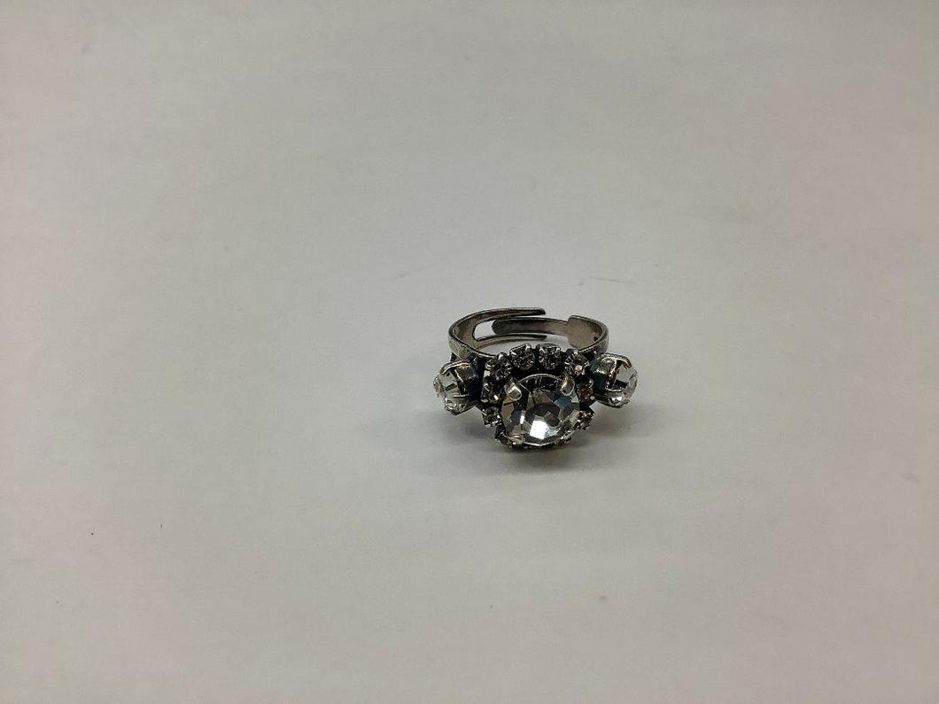 Silver Adjustable Ring with Clear Crystals