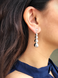 Stylish Hanging Silver Ball Post Back Earrings