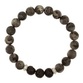 Lava Beads with Black Obsidian Stones