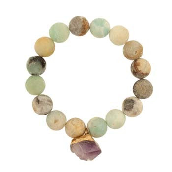 Stretch Bracelet Amazonite Beads w/Hanging Amethyst Charm