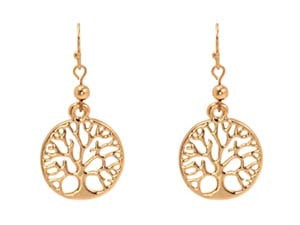 Etched Tree of Life Drop Earrings