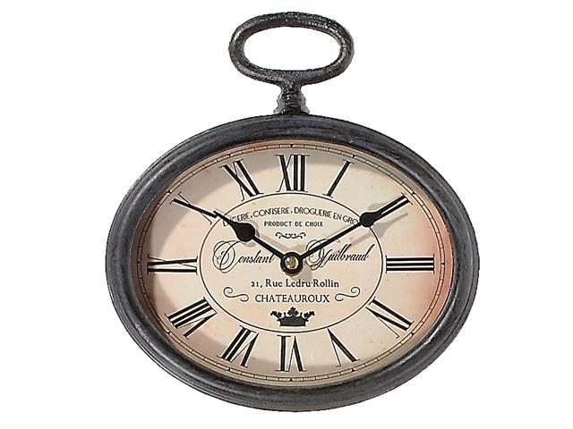 METAL VINTAGE OVAL CLOCK WITH HANDLE (BLACK)