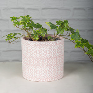 Pink Lace Drawing Ceramic Flower Pot