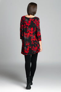 High-Low Printed Tunic in Red