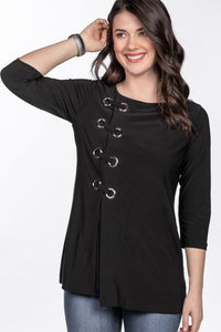 Eyelet Detail ¾ Sleeve Top in Black