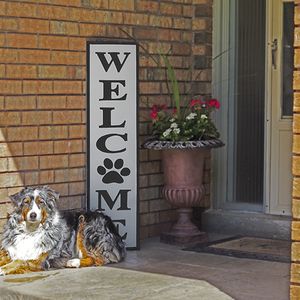 Welcome with Paw Print Sign
