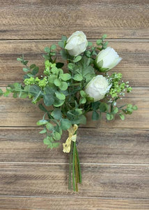 "13.5"" WHITE EUCALYPTUS AND ROSE BOUQUET"
