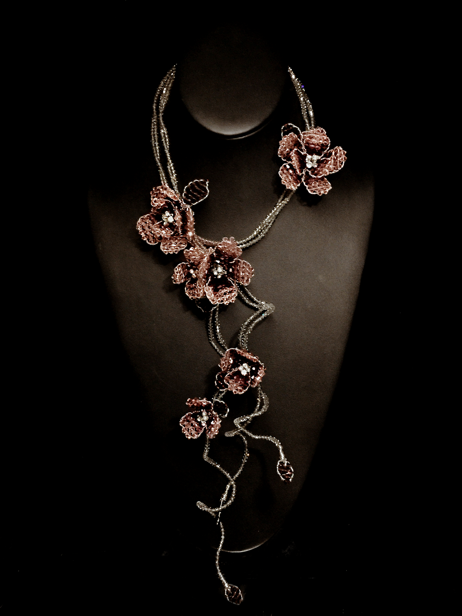 The Kelly Lariat - Rose & Black Diamond