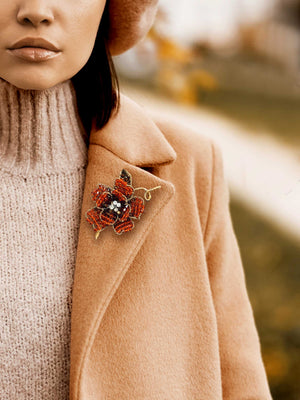 Mindy Lam Collection NKF Small Peony Unisex Lapel Pin