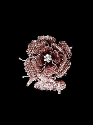 Classic Collection Peony Brooch - Rose