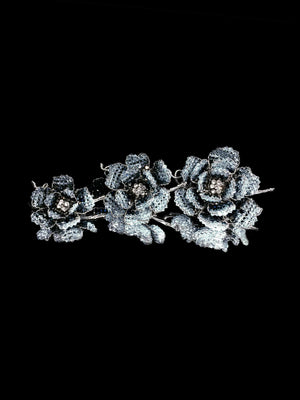 Classic Collection Peony Brooch - Sky & Denim