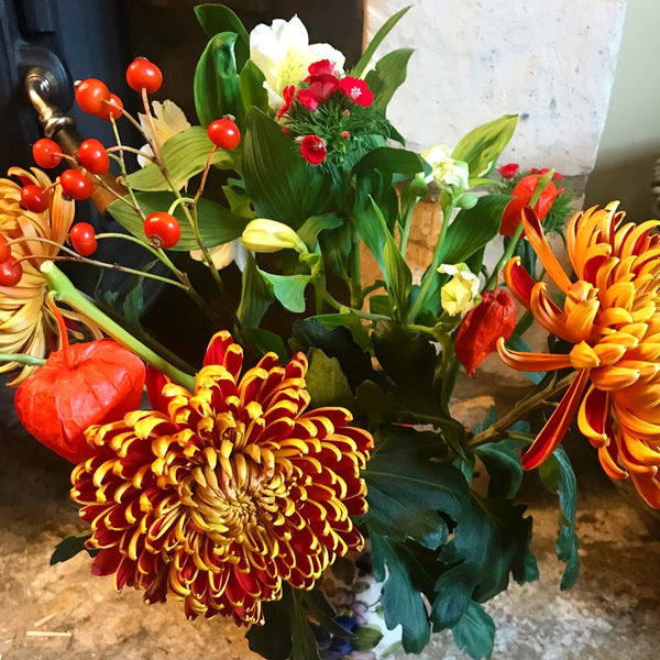 Close up of orange and yellow chrysanthemums, chinese lanterns, red berries and alstormeria.