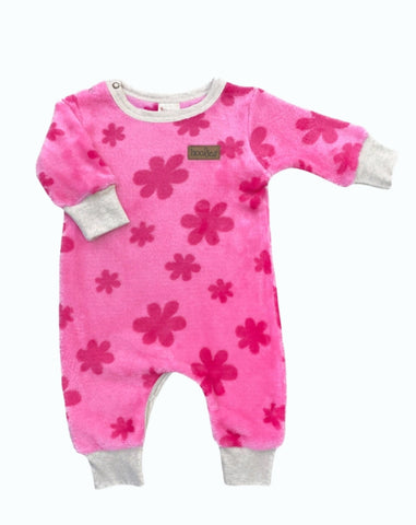 Pink flowery baby grow