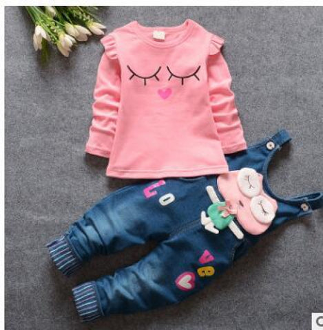 Children Sweet 2pcs Sets T shirt omper