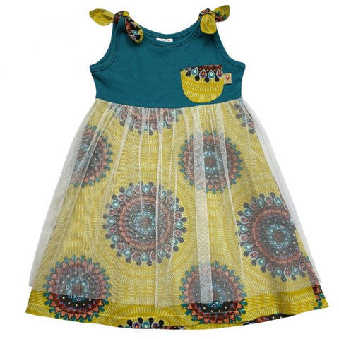 Bow mesh coloured baby dress