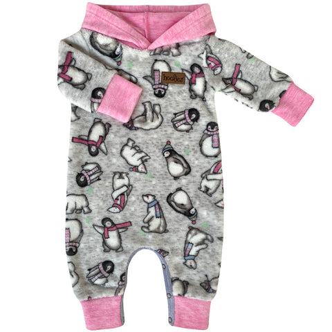 Pink hooded animal baby grow