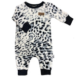 fluffy easy fit leopard print baby grow