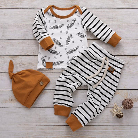 Baby striped and feather 3 piece
