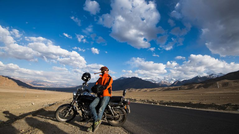 Man with Bike in Ladakh - Awesome Men
