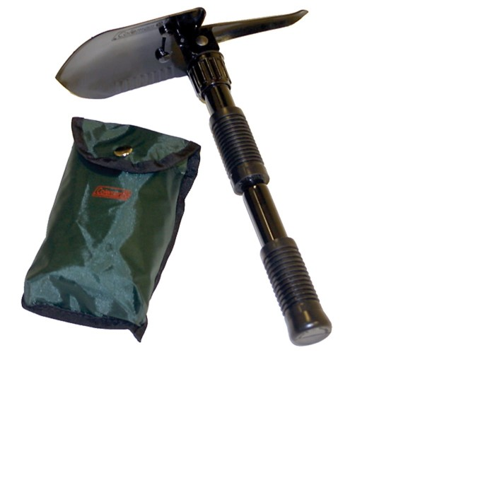 Folding camping shovel and pick is 3 tools in one and includes carry pouch