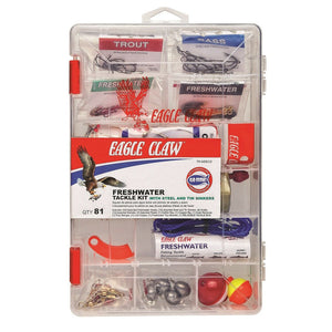 Eagle Claw Fresh Water Kit in clear box w/ Lead Alternative Weights #TK-NEECO