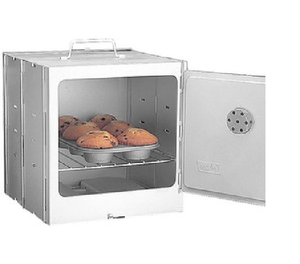 Bake or keep food warm with this propane Camp Oven folds down for easy storage